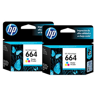 Pack de 2 Cartuchos de Tinta HP 664 Tricolor Originales