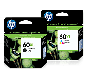Pack de Cartuchos de Tinta HP 60XL Negro + Tricolor